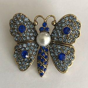 Jewelry - Butterfly shape beaded blue brooch